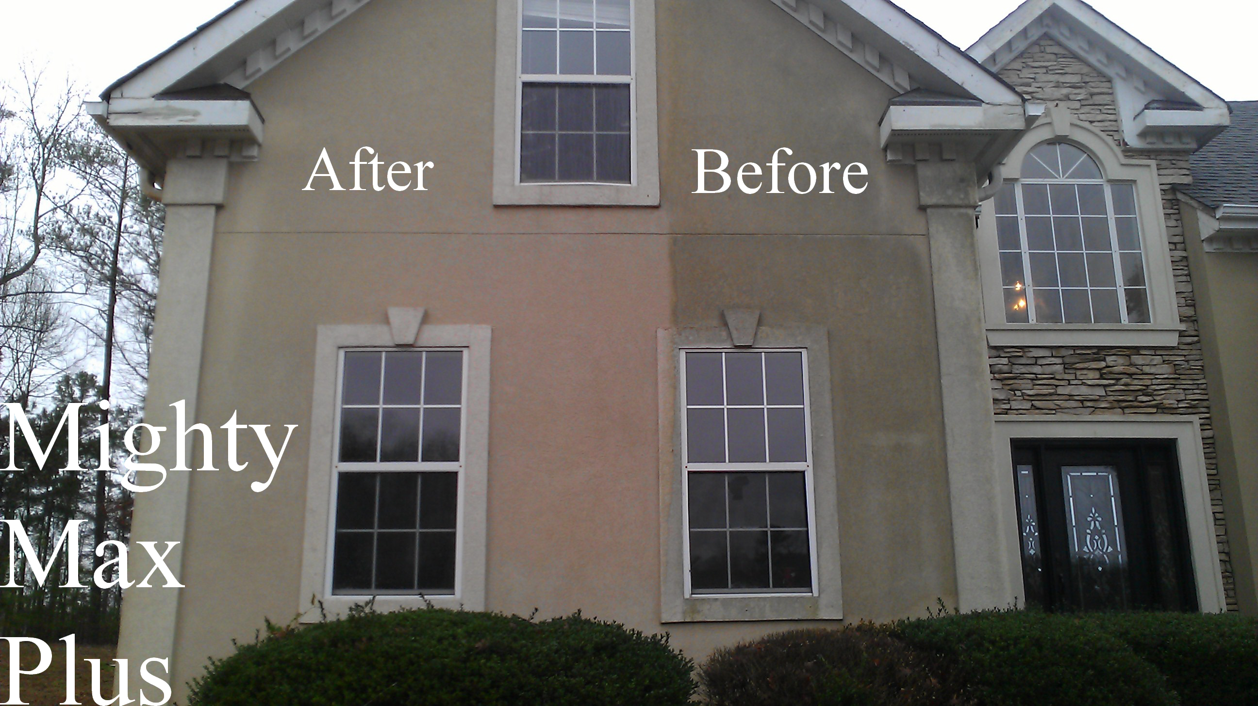 Image of house exterior before and after cleaning