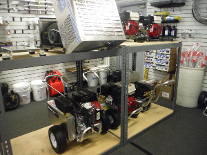 Showroom Sale rack for Pressure Washers